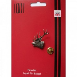 Red Stags Head Pewter Lapel Pin Badge