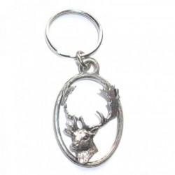 Fallow Deer Head Pewter Key Ring