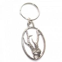 Roe Deer Antlers Pewter Key Ring