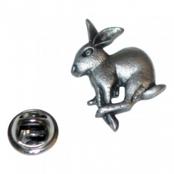 Leaping Hare Pewter Lapel Pin Badge