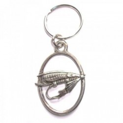 Fly Fishing Hook Pewter Key Ring