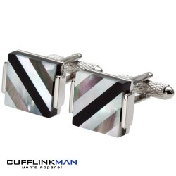Mother Of Pearl Black Stripe Cufflinks
