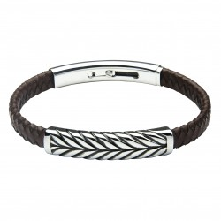Amur Leather and Steel Bracelet by Jos Von Arx