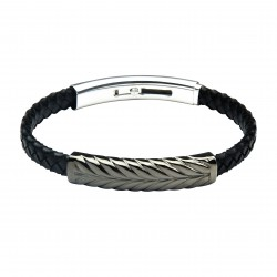 Amur Dark Leather and Steel Bracelet by Jos Von Arx