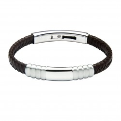 Idaho Leather and Steel Bracelet by Jos Von Arx
