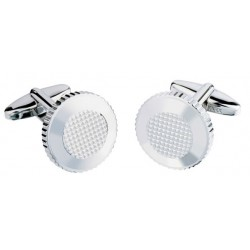 Jos Von Arx - Designer  Round Silver  Textured Cufflinks
