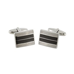 Jos Von Arx - Designer Cufflinks - Silver and Black Striped Cufflinks