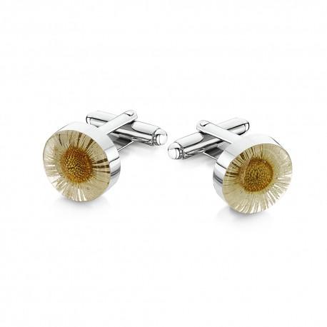 Daisy Flower Murano Glass Cufflinks