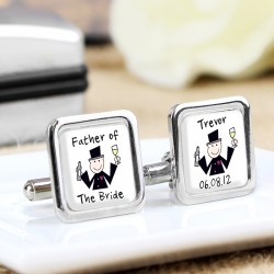 Personalised Cartoon Wedding Party Cufflinks