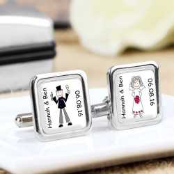 Personalised Bride & Groom Wedding Cufflinks