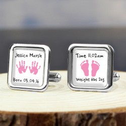 Personalised - Pink Hands & Feet Cufflinks