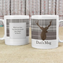 Personalised Tartan Highland Stag Mug