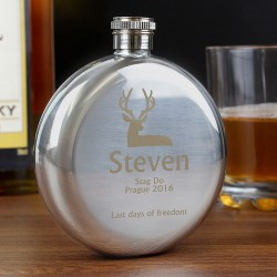 Personalised Round Stag Hip Flask