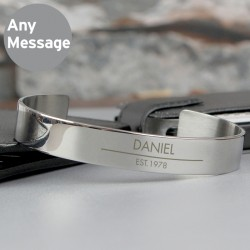 Personalised Any Message Stainless Steel Bangle