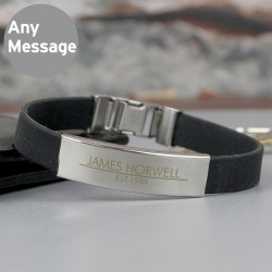Personalised Classic Rubber and Steel Bracelet