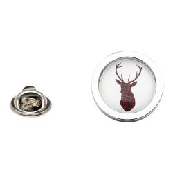 Stag Lapel Pin Badge Royal Stewart Tartan