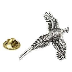 Pheasant in Flight Pewter Lapel Pin Badge