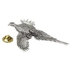 Large Pheasant Pewter Lapel Pin Badge