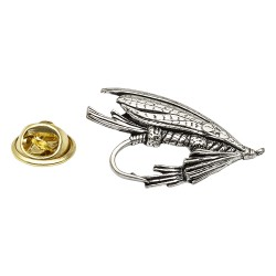 Large Fly Fishing - Fishing - Pewter Lapel Pin Badge