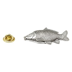 Leather Carp Fish - Fishing - Pewter Lapel Pin Badge