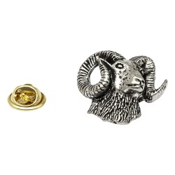 Mouflon Stag Pewter Lapel Pin Badge