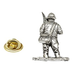 Large Fly Fisherman Pewter Lapel Pin Badge