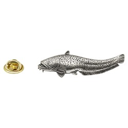 Brown Trout Fish Pin Badge Brooch English Silver colour Pewter in gift pouch