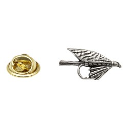 Small Fly Fishing Hook - Fishing - Pewter Lapel Pin Badge