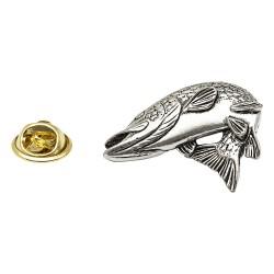 Turning Pike Fish - Fishing - Pewter Lapel Pin Badge
