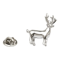 Silver Standing Stag Lapel Pin