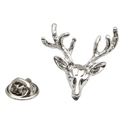 Silver Stag Head Lapel Pin