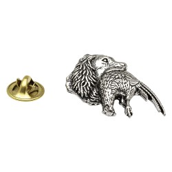 Spaniel with Pheasant in mouth English Pewter Lapel Pin Badge