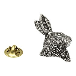 Hare Bust Pewter Lapel Pin Badge