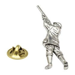 Shooting Gamekeeper Pewter Lapel Pin Badge