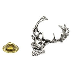 Fallow Deer Head Pewter Lapel Pin Badge