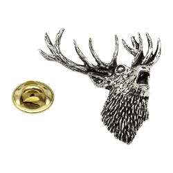 Roaring Stag Pewter Lapel Pin Badge