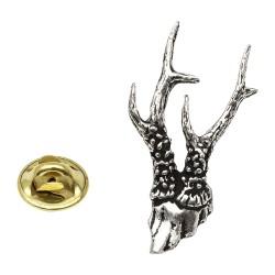 Wild Roe Deer Antlers Pewter Lapel Pin Badge