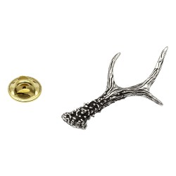 Roe Deer Antlers Pewter Lapel Pin Badge
