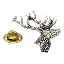 Stag Bust Pewter Lapel Pin Badge