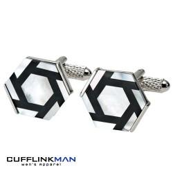 Mother of Pearl Hexagonal Cufflinks