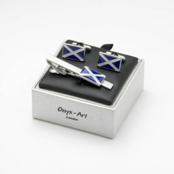 Scottish Flag Cufflinks and Tie Bar Set - Scottish Cufflinks