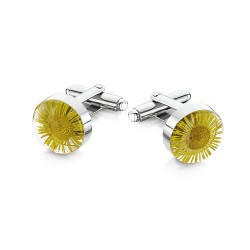 Yellow Daisy Flower Cufflinks