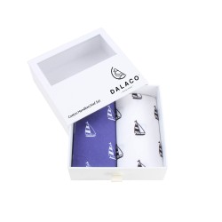 Blue and White Yacht Print Cotton Handkerchief Set