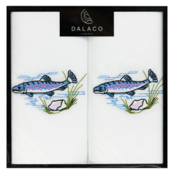 Fish Embroidered White Cotton Handkerchief