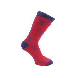 Stag Socks - Red and Blue Combed Cotton