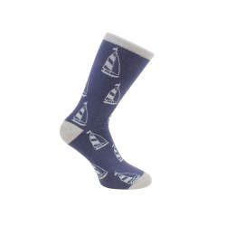 Yacht Socks - Blue and Grey Combed Cotton