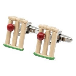 Cricket Stumps and Ball Cufflinks