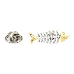 Two Tone, 3D Fish Bones Lapel Pin