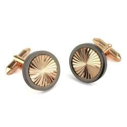 Rose Gold and Gunmetal Circle Cufflinks