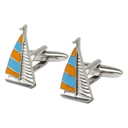 Orange and Blue Sailing Yacht Cufflinks